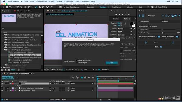 Creating and drawing on a new cel: After Effects Duik Rigging & Animation Tools