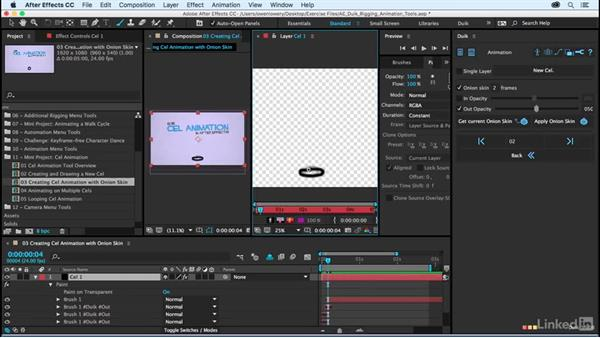 Creating cel animation with the onion skin: After Effects Duik Rigging & Animation Tools