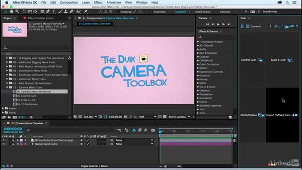 Camera menu overview: After Effects Duik Rigging & Animation Tools