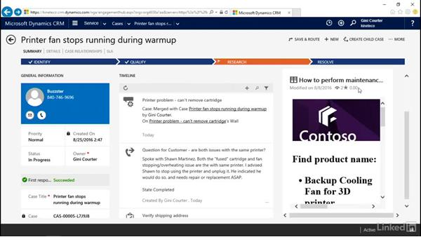 Research the knowledge base: Microsoft Dynamics CRM: Customer Service