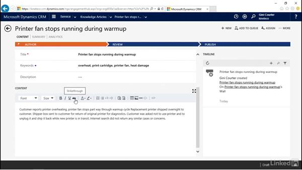Convert a case to an article: Microsoft Dynamics CRM: Customer Service