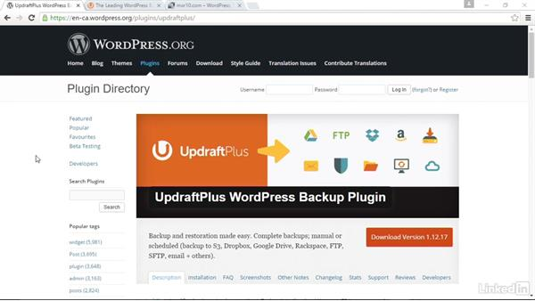 Install and activate UpDraftPlus: WordPress: Backing Up Your Site
