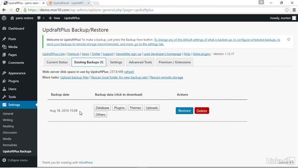 Restore your site from a backup: WordPress: Backing Up Your Site