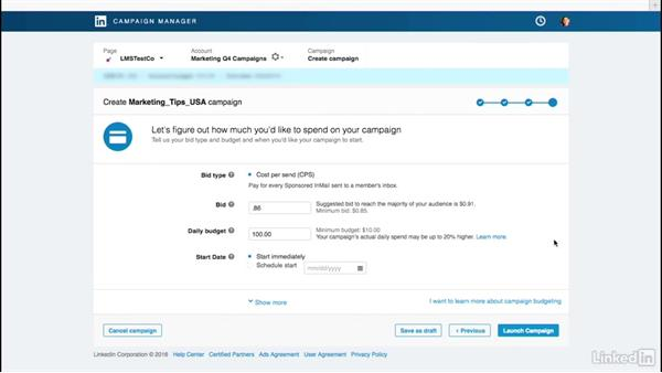 Add your bid, budget, and set your campaign live: LinkedIn Sponsored InMail
