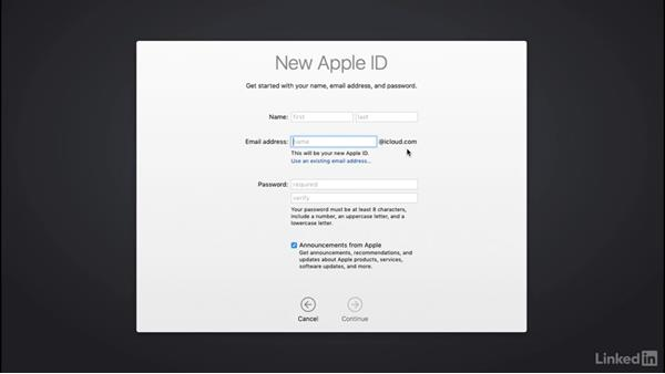 Setting up an Apple ID or iCloud account: macOS Sierra Essential Training