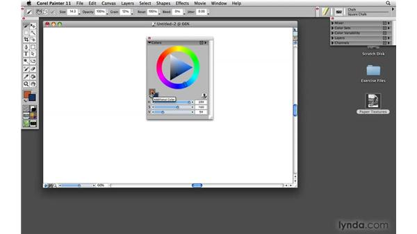 Accessing and controlling color with the Color palette: Painter 11 Essential Training