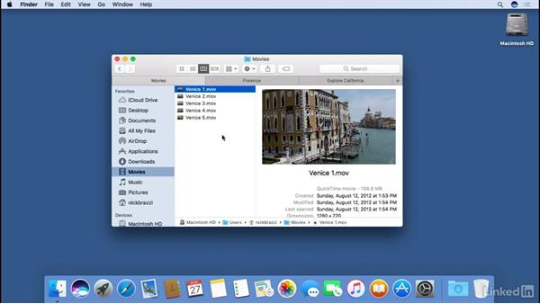 Using tabs to organize the Finder window: macOS Sierra Essential Training
