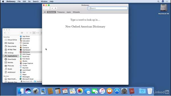 Organizing applications in the Dock and customizing the Dock : macOS Sierra Essential Training