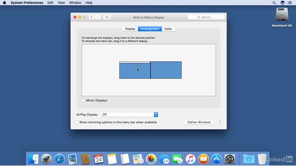 Working with multiple displays: macOS Sierra Essential Training