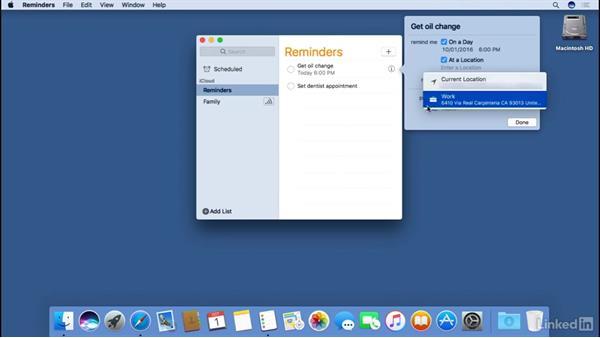 Reminders: macOS Sierra Essential Training