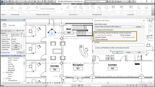 Synchronize with central: Revit Worksharing: Users