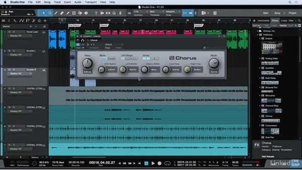 Doubling vocals in post-production: Vocal Production Techniques: Editing and Mixing in Studio One