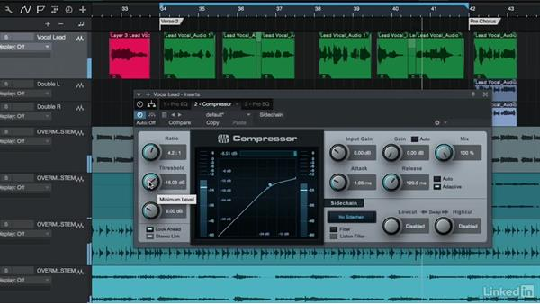 Processing vocals with compression and limiting: Vocal Production Techniques: Editing and Mixing in Studio One