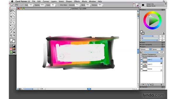 Using the Pick Up Underlying Color control: Painter 11 Essential Training