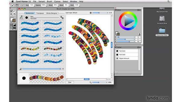 Exploring brush properties using the Randomizer: Painter 11 Essential Training