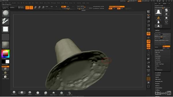 Sculpting the hat: ZBrush: Sculpt a Scarecrow