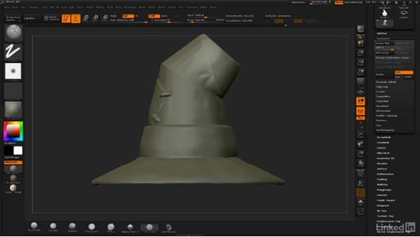 Bending the hat and creating a crease: ZBrush: Sculpt a Scarecrow