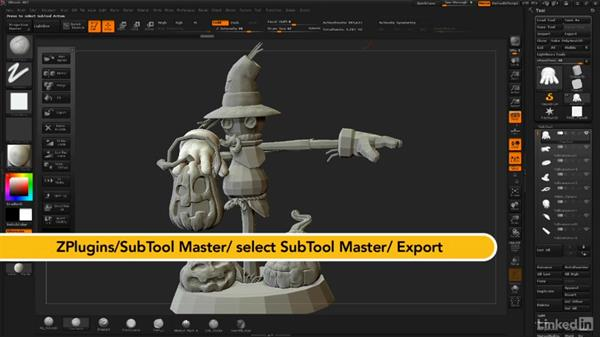Exporting subtools to Maya for adjustments: ZBrush: Sculpt a Scarecrow