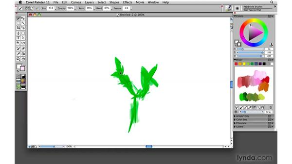Painting with RealBristle brushes: Painter 11 Essential Training