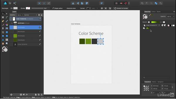 Making color schemes and saving swatches: UX Design Tools: Affinity Designer