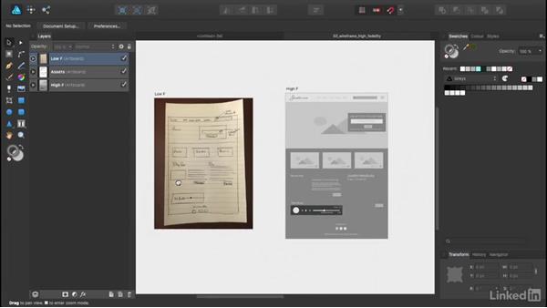 Creating a wireframe: UX Design Tools: Affinity Designer