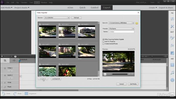 Add AVCHD from devices: Learning Premiere Elements 15