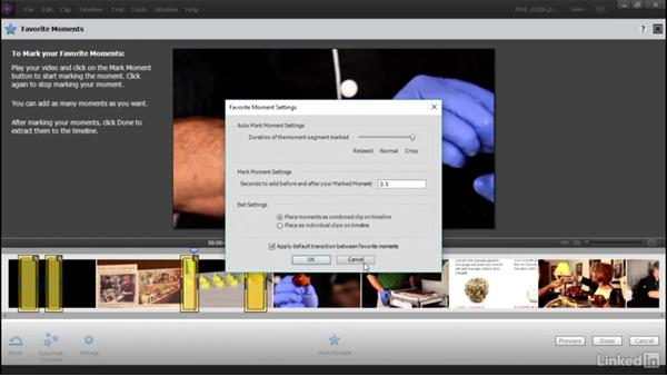 Selecting segments of a video clip with the Favorite Moments tool: Learning Premiere Elements 15