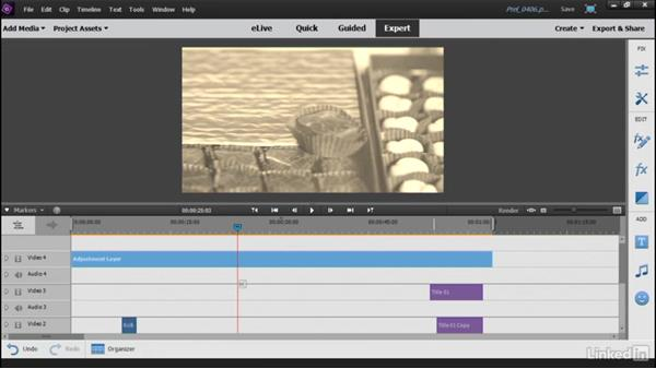 Adding video effects with Adjustment Layers: Learning Premiere Elements 15