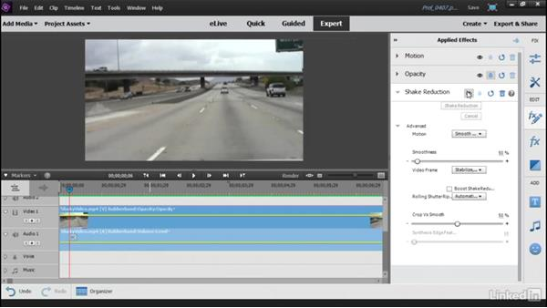 Removing shakiness with the Video Stabilizer: Learning Premiere Elements 15