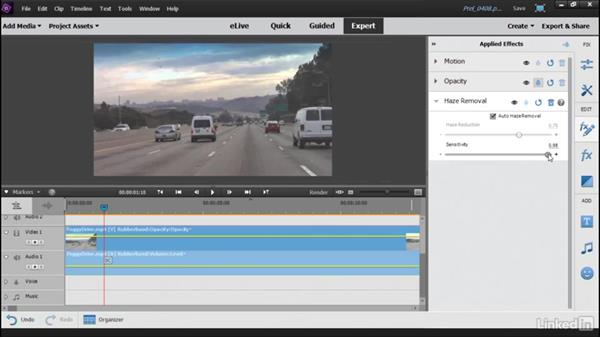 Using the new Video Haze Removal tool: Learning Premiere Elements 15
