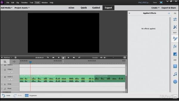 Adding audio effects to your movie: Learning Premiere Elements 15