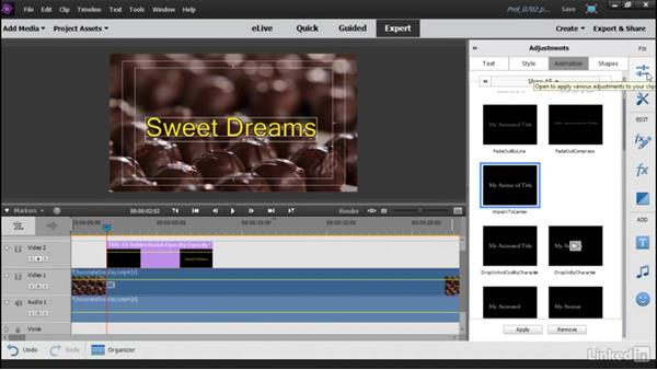 Using preset animations with your titles: Learning Premiere Elements 15
