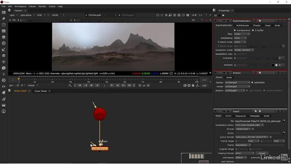 Shuffle node and scene setup: Matte Painting: Environments for Film