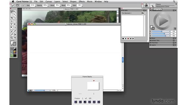 Using a movie clone source: Painter 11 Essential Training