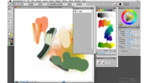 Accessing favorite brushes using the Tracker palette: Painter 11 Essential Training