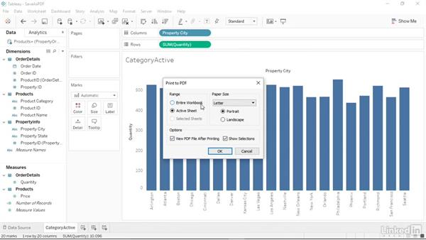 Saving your workbook as a PDF file: Tableau 10 Essential Training