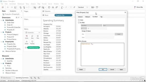 Creating calculations in dialog boxes: Tableau 10 Essential Training