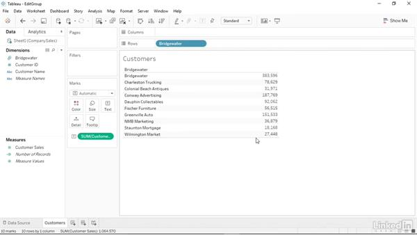 Editing and deleting groups: Tableau 10 Essential Training