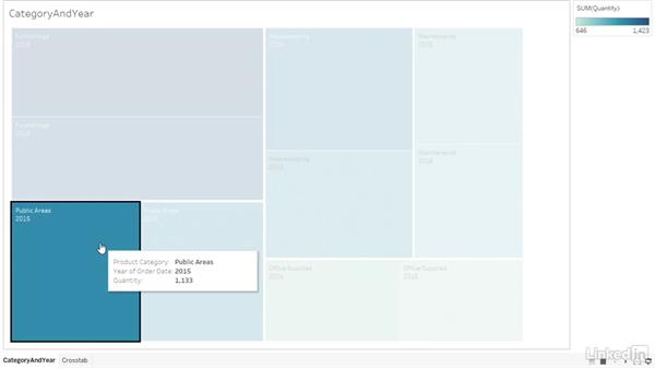 Displaying a visualization in Presentation mode: Tableau 10 Essential Training
