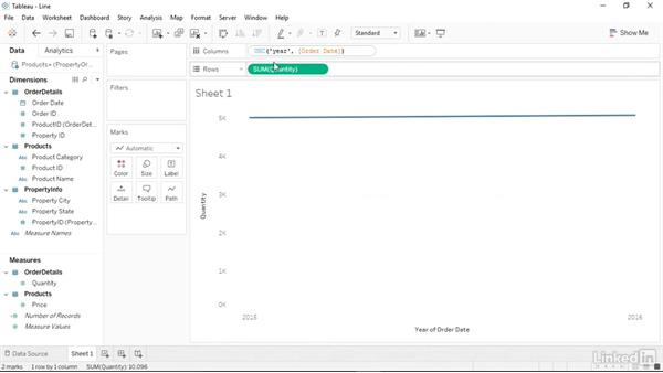 Creating line charts and area fill charts: Tableau 10 Essential Training