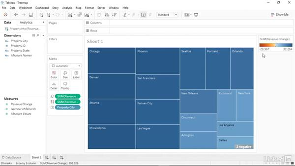 Creating a treemap: Tableau 10 Essential Training