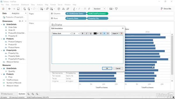 Adding a text box to a chart: Tableau 10 Essential Training