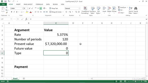 Calculating a loan payment (PMT): Excel 2013: Financial Functions in Depth