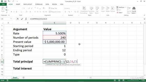 Calculating cumulative principal and interest paid between periods (CUMPRINC and CUMIPMT): Excel 2013: Financial Functions in Depth