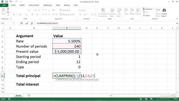 calculating cumulative principal and interest paid between periods