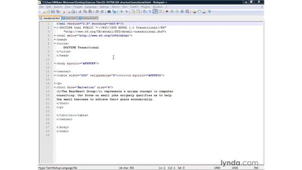 Understanding the structure of an XHTML document: XHTML and HTML Essential Training