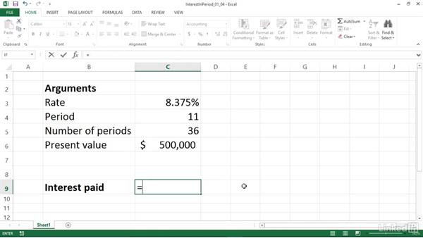 Calculating the interest paid during a specific period (ISPMT): Excel 2013: Financial Functions in Depth