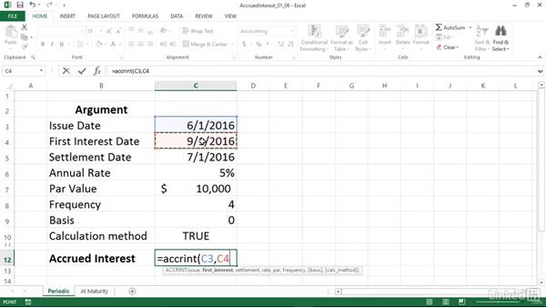 Calculating accrued interest for investments (ACCRINT and ACCRINTM): Excel 2013: Financial Functions in Depth