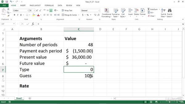 Discovering the interest rate of an annuity (RATE): Excel 2013: Financial Functions in Depth