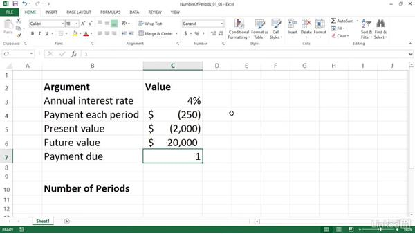 Calculating the number of periods in an investment (NPER): Excel 2013: Financial Functions in Depth